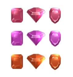 Cartoon of gems and diamonds vector image vector image