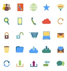 Communication color icons on white background vector