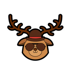 Cute vintage deer face cartoon vector