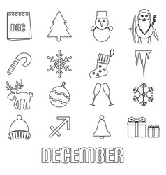 December month theme set of simple outline icons vector