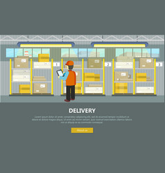Delivery conceptual web banner in flat vector