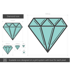 diamond line icon vector image vector image