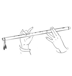 Drawing of hands playing on flute lord krishna vector
