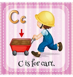 Flashcard of letter c vector