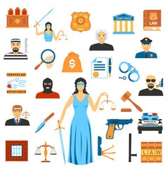 Flat design law and justice icons vector