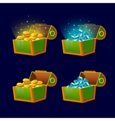 Green chest set for game interface vector