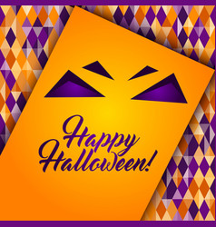 Halloween patterned greeting card monster face vector