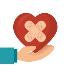 Hand hold heart with plaster vector