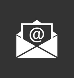 Mail envelope icon isolated on black background vector