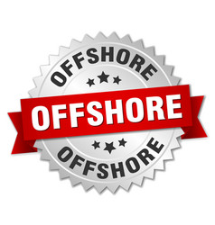 Offshore round isolated silver badge vector