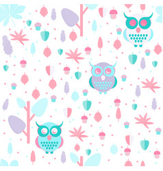 Owl in leaves pattern vector