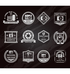 Photo industry chalkboard emblems set vector