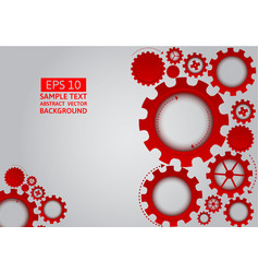 Red gear abstract on gray background with copy vector