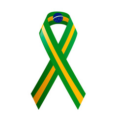 Ribbon brazil flag on white background vector