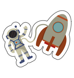 rocket asttronaut flying space shadow vector image