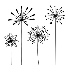 Set of abstract black hand drawn flowers in doodle vector image vector image