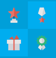 set of simple prize icons vector image