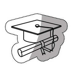Silhouette graduation hat with diploma vector