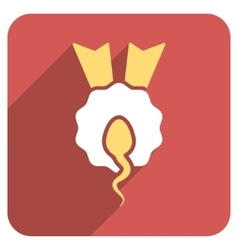 Sperm Winner Flat Rounded Square Icon with Long vector image vector image