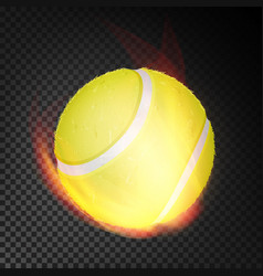 tennis ball in fire realistic burning vector image vector image