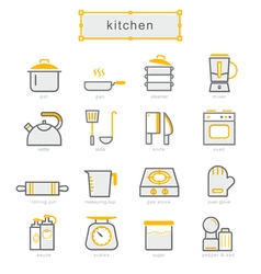 Thin line icons set kitchen set vector image