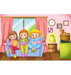 Three girls sitting on sofa at home vector