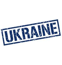 Ukraine blue square stamp vector