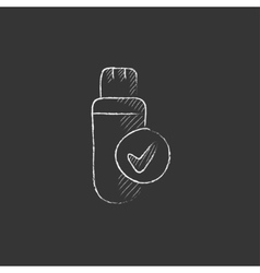 USB flash drive Drawn in chalk icon vector image vector image