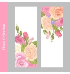 Set vertical floral greeting card vector