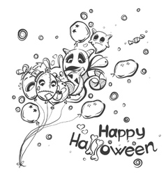 Ghost with the balls - halloween doodles vector