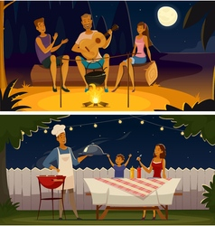 Night Barbecue Party Cartoon Retro Banners vector image