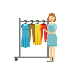 Woman Shopping For Clothing Shopping Mall And vector image