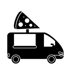 Pizza delivery truck fast food pictogram vector