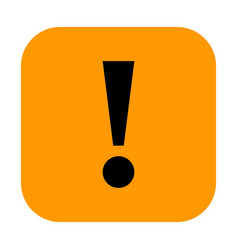 orange square exclamation mark icon warning sign vector image