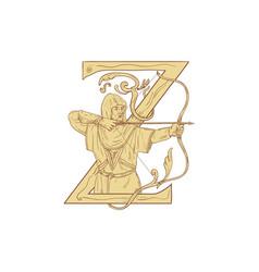 Medieval archar aiming bow and arrow letter z vector