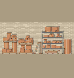 Pile cardboard boxes on shelves in warehouse vector