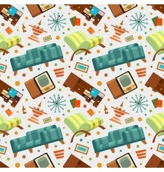 Seamless pattern with the living room stuff vector
