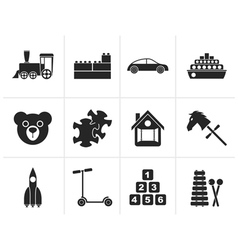 Silhouette different kinds of toys icons vector