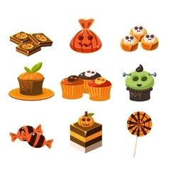 Colorful halloween sweets vector