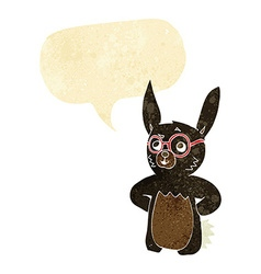 Cartoon rabbit wearing spectacles with speech vector