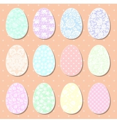 Set of pastel Easter eggs vector image