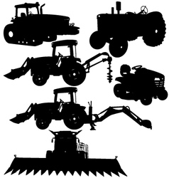 Farm equipments silhouettes vector