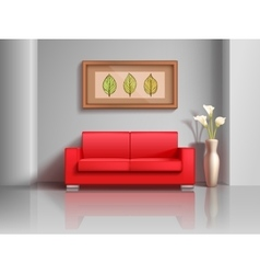 Realistic red sofa and flowerpot in living room vector