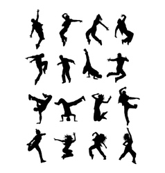 Hip hop dancer silhouettes vector