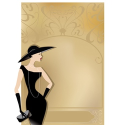 Lady in black at vntage poster vector
