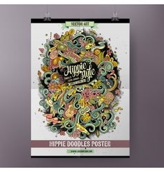 Cartoon colorful hand drawn doodles hippie poster vector