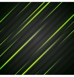 Abstract shiny green glowing stripes flyer vector