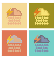 Assembly flat icons nature thunderstorm rain cloud vector
