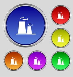 Atomic power station icon sign round symbol on vector