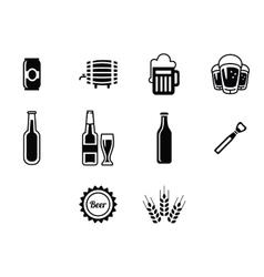 black beer icons set vector image